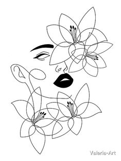 Art Drawings Sketches, Easy Drawings, Drawings To Trace, Flower Drawings, Outline Art, Abstract Line Art, Diy Canvas Art, Minimalist Art, Art Inspo