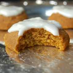 Gluten Free Pumpkin Cookies are a soft, pillowy mound of heaven in your mouth! Topped with a sweetened yogurt and cream cheese glaze.
