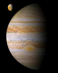 Jupiter and one of its innermost moons Io.Io is the fouth largest moon in the solar system, a bit larger than Earths moon, and one of the most geologically active with many volcanos.This is a composite of two images I made from the Galileo spacecraft. Credit NASA/JPL-Caltech
