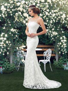 Einfache Scoop Mermaid Brautkleid