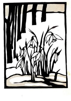 Old silhouettes photostream - love snowdrops in the snow in winter . Kirigami, Lino Art, Paper Art, Paper Crafts, Foam Crafts, Linoprint, Paper Animals, Illustration Art, Illustrations