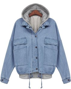 Blue Hooded Long Sleeve Drawstring Denim Outerwear -SheIn(Sheinside) Mobile Site