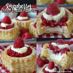 Raspberry Cream Cheese Pastries have a cream cheese filling, topped with a homemade raspberry sauce, dusted in powdered sugar ang topped with a fresh raspberry. Fresh Raspberry Recipes, Raspberry Desserts, Mini Desserts, Just Desserts, Delicious Desserts, Dessert Recipes, Raspberry Sauce, Raspberry Filling, Soup Recipes