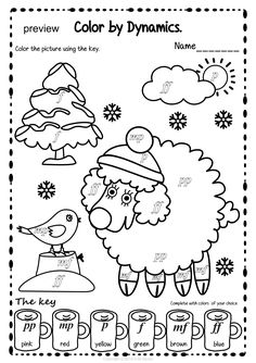 Winter Color by Dynamics Pages Music Class, Music Education, Winter Colors, Winter Theme, Basic Music Theory, Music Theory Worksheets, Color Sheets, Music Activities, Elementary Music