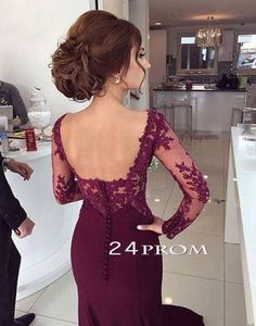 Custom Made Long Maroon Lace Prom Dresses, Formal Dresses