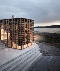 Atelier Oslo wraps House on an Island with gridded timber facade – Exterior Architecture Durable, Architecture Design, Minimalist Architecture, Contemporary Architecture, Timber Architecture, Architecture Portfolio, Facade Design, Residential Architecture, Oslo