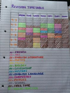 timetable - feel free to copy!Revision timetable - feel free to copy!