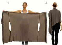 Patrón gratis: poncho convertible en blusa, cárdigan, túnica, pañuelo...Sin coser