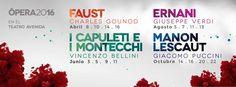 """Buenos Aires Lírica da a conocer su decimocuarta temporada, que se iniciará en abril de 2016 en el Teatro Avenida de Buenos Aires: """"Faust"""", de Charles Gounod (Paris, 1859): 8, 10, 14 y 16 de abril. """"I Capuleti e i Montecchi"""", de Vincenzo Bellini (Venecia, 1830): 3, 5, 9 y 11 de junio. """"Ernani"""", de Giuseppe Verdi (Venecia, 1844): 5, 7, 11 y 13 agosto. """"Manon Lescaut"""", de Giacomo Puccini (Turín, 1893): 14, 16, 20 y 22 de octubre."""