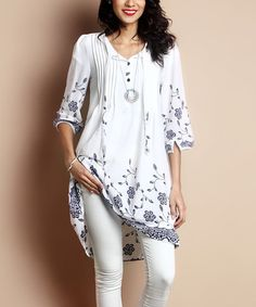Love this White Floral Chiffon Tie-Front Hi-Low Tunic Dress on #zulily! #zulilyfinds