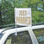 Why mess up your car with decals and stickers...Just Married Wedding Car Flag- Wedding Car Decorations- Weddings - Party City