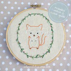 Little Fox, Hand Embroidery PDF Pattern - Instand Digital Download // Hand Embroidery Design // Nursery Art // Needlecraft design