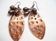 Hammered Copper Opalescent Pearl Earrings Rustic Artisan Boho