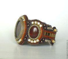"""Купить Браслет """"Каприз"""" - бордовый, терракотовый, бронза, браслет, Вышивка бисером, яшма натуральная"""