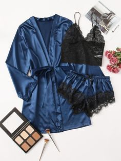 Cute Sleepwear, Sleepwear Sets, Lingerie Sleepwear, Nightwear, Satin Lingerie, Pretty Lingerie, Lingerie Set, Lingerie Party, Sexy Pajamas