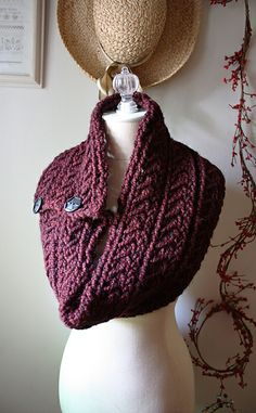 Bordeaux Chunky Cowl / Shoulder Warmer by Brenda Lavell - $5.50