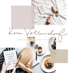 Branding and web design, moodboard, neutral color palette, kim vollendorf, the blog stop, minimal design, hand lettering