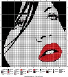 rode lippen, zwarte haren Beaded Cross Stitch, Cross Stitch Charts, Cross Stitch Embroidery, Embroidery Patterns, Modern Cross Stitch Patterns, Cross Stitch Designs, Cross Stitch Silhouette, Pix Art, Pixel Pattern