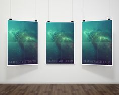 Triple Hanging Poster Frame Mockup PSD | Premium and Free Graphic Resources