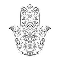 Indian hand drawn hamsa. Hamsa henna tattoo with ethnic ornament. Pattern for coloring book page. Illustration in ornamental style.