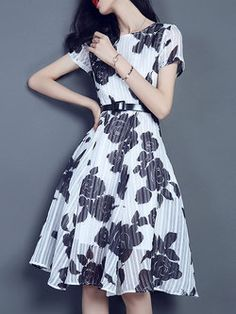 Short Sleeve Polyester Floral Crew Neck Vintage #Midi #Dress
