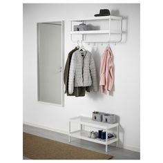 hat and coat rack + shoe rack ikea + mirror Shoe Rack With Mirror, Bench With Shoe Storage, Small Storage, Coat Storage, Storage Rack, Coat Closet Organization, Ikea Closet Organizer, Coat Rack Ikea, Estilo Cottage