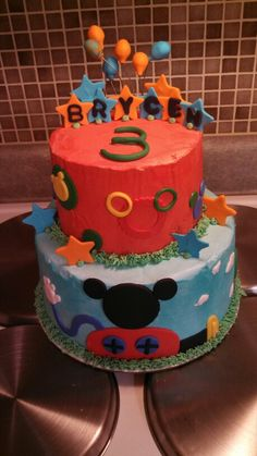 Mickey Mouse clubhouse cake created by Alicia @ Phat N Sassy Sweets