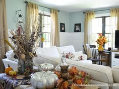 Autumn decorating at our home with mercury pumpkins, gords & pumpkins @Four Generations One Roof