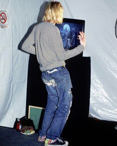"""9/2/1993. #KurtCobain rocking out with us backstage at the @MTV music awards while we played """"Are You Gonna Go My Way."""" : Kelly Swift"""