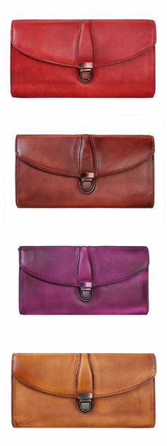 WTING womens wallet geuine leather cowhide brown red belt solid color