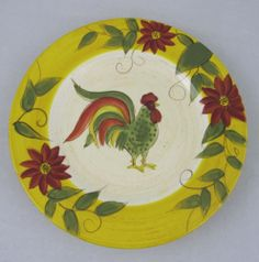 Gates Ware Holiday Rooster Pattern Salad Plate Tan Yellow Laurie Floral Rim | eBay