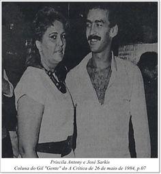 """Priscila Antony e José Sarkis. Coluna Gil """"Gente"""" do A Crítica de 26 de maio de 1984"""