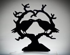 This is nice, she loves ravens.  Kissing Raven Heart Crow Cake Topper 'Nevermore' by BungalowGlow, $25.00