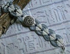 Micro macrame bracelet with Celtic knot button. Macrame jewelry. via Etsy