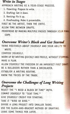 The Writing Process (I always find that these types of things translate so well to singing.)