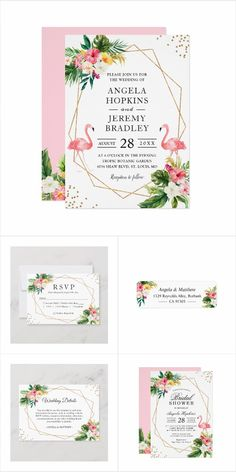 A Tropical Floral Flamingo Summer Invitation Suite, with items from Invitations to RSVP card, Thank You Card, Save the Date Card, Information Card and more. Mason Jar Wedding Invitations, Summer Wedding Invitations, Watercolor Wedding Invitations, Wedding Rsvp, Wedding Matches, Floral Wedding Invitations, Bridal Shower Invitations, Invites, Wedding Welcome Signs