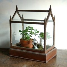 dreamy antique terrarium