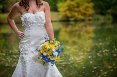 Cedarwood Weddings, Nashville Wedding Venue, Bouquets, Yellow and Blue