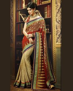 Red and Beige Half and Half Bridal Sari   1. Red and Beige georgette heavy embroidered bridal sari2. Comes with matching unstitched blouse