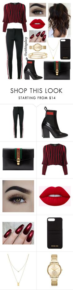 """""""red&black"""" by withingalaxy ❤ liked on Polyvore featuring Gucci, MSGM, Sonia Rykiel, MICHAEL Michael Kors, Botkier, Michael Kors and David Yurman"""