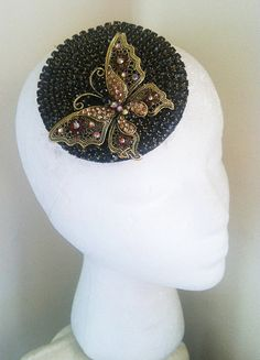 Deco Jet Black and Gold Crystal Rhinestone Butterfly Fascinator-Swarovski-1920s The Great Gatsby Bronze Butterflies Vintage Cocktail Hat