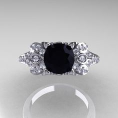 Classic 10K White Gold 1.0 CT Black and White by artmasters