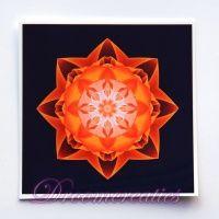 Meditatiekaart Stardust orange 9 x 9 cm - www.droomcreaties.nl