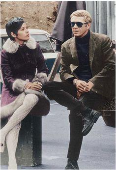 Steve McQueen and wife Neile, on the set of 'Bullitt'