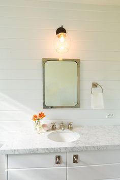 Powder room Quadrille wallpaper + Ship Lap walls + silestone Lagoon + Megan Arquette Design >> Dana Thompson Photography