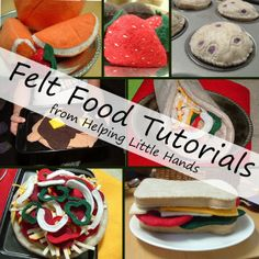 Helping Little Hands: Free felt food tutorials. Instructions on how to make all this great play food. Little ones will love imaginative roleplay games with this inexpensive and fairly easy to make Fun food. Felt Diy, Felt Crafts, Diy Crafts, Diy For Kids, Gifts For Kids, Felt Food Patterns, Pretend Food, Pretend Play, Felt Play Food