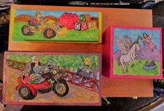 Christmas Gift Boxes for my Stepsons Fiancee and her kids - wooden boxes are airbrushed and painted with craft acrylic and detailed in ink. To seal them and make them last the Boxes coated with Polycrylic Urethane. Painted Boxes, Hand Painted, Fiancee, Christmas Gift Box, Birdhouses, Wood Boxes, Gift Boxes, Seal, Ink