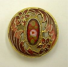 One Antique French Pierced Champlevé Enamel Button in Red & Pink