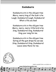 Kookaburra Lyrics, Printout, MIDI, and Video Great Song Lyrics, Sing Along Songs, Songs To Sing, Songs For Toddlers, Rhymes For Kids, Silly Songs For Kids, Camp Songs, Fun Songs, Kindergarten Songs