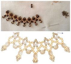 Free Burnish Lace Necklace Beading Pattern by Sandra D. Halpenny featured in recent Bead-Patterns.com Newsletter! #FreeBeadPattern #FreeNecklaceBeadPattern #NettingPattern #LaceNecklaceBeadPattern